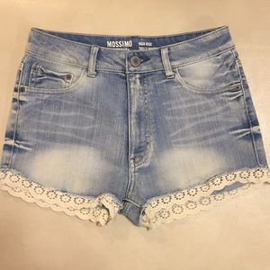 Jean & Lace High-Waisted Shorts